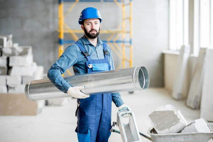 HVAC-Repair-Contractor-working-on-Air-Duct-pipings
