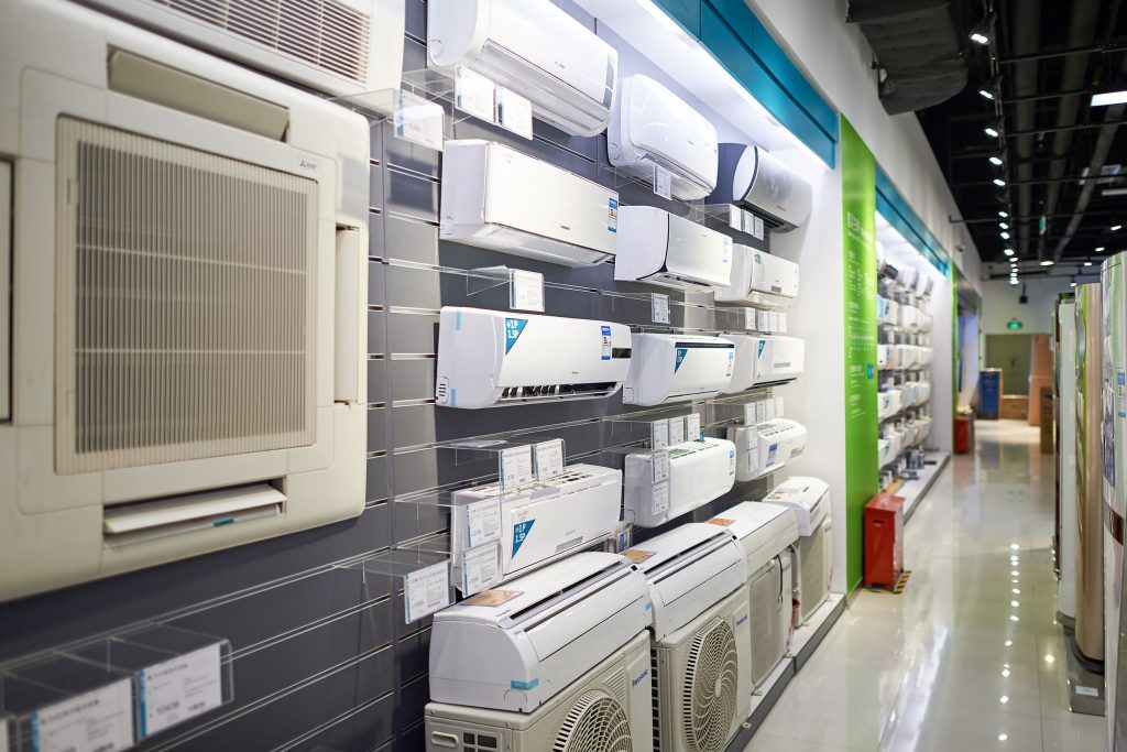 store aisle full of new air conditioner units